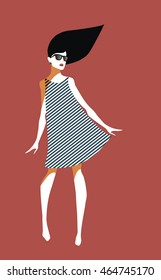 Beautiful young woman with sunglasses and striped dress. Retro and pop art. Summer style. Vector eps10 illustration. Red background