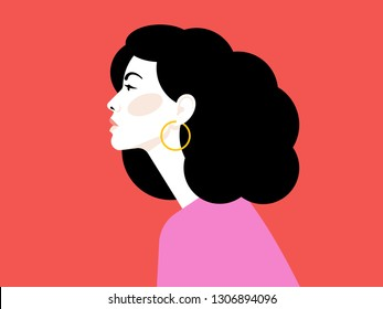 Beautiful young woman with superb black hair. Side view. Red background. Portrait of a young girl for a poster, stock, flyer or postcard.