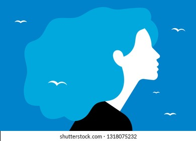 Beautiful young woman with superb blue hair. Side view. Portrait of a young girl for a poster, stock, flyer or postcard.