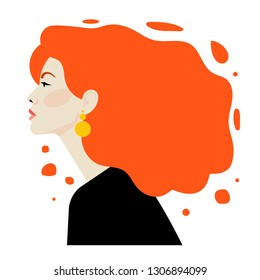 Beautiful young woman with superb red hair. Side view. Portrait of a young girl for a poster, stock, flyer or postcard.