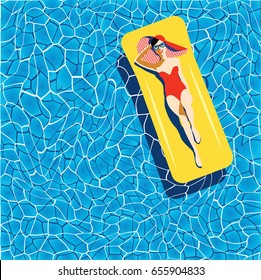 Beautiful young woman tanning in the pool, with sunglasses, hat, retro style. Pop art. Summer holiday. Vector eps10 illustration