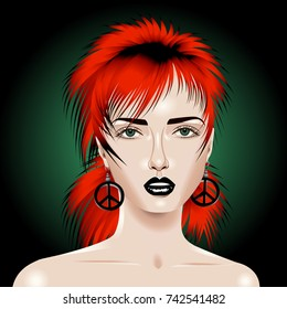 Beautiful young woman with trendy hairstyle and earrings in the shape of a peace sign.Vector illustration.