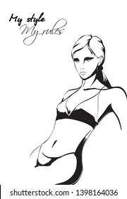 Beautiful young woman  in underwear. Fashion sketch. Fashion girl  in a bathing suit. Hand-drawn fashion model. Sexy woman on white background. Healthy lifestyle.
