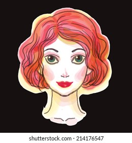 Beautiful young woman vector illustration.