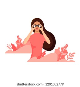 Beautiful young woman watching through binoculars surrounded by plants. Flat style vector illustration isolated on white background
