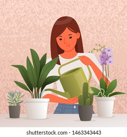 Beautiful young woman watering houseplants. Caring for indoor plants. Hobby. Vector illustration in flat style