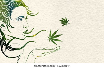 Beautiful young woman and wind in her hair and marijuana leafs, vector image