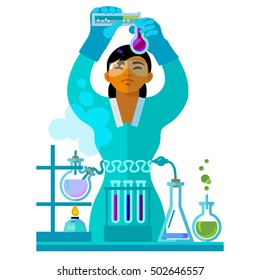 Beautiful young woman working in the laboratory. Student is studying chemistry. Asian scientist in protective glasses and gloves holding flasks is doing research. Cartoon flat vector illustration.