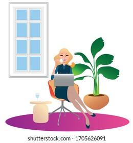 belle jeune femme travaillant sur son ordinateur portable depuis chez elle, illustration concept. Une indépendante avec ordinateur sur sa chaise. image vectorielle création à plat.