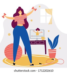 Beautiful young woman works out on exercise at home. Online training concept vector flat illustration