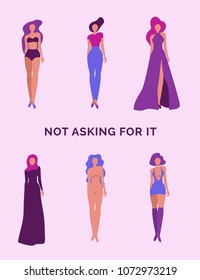 Beautiful young women in different outlets expressing the message to stop slut-shaming. Trendy vector illustration in purple tones,