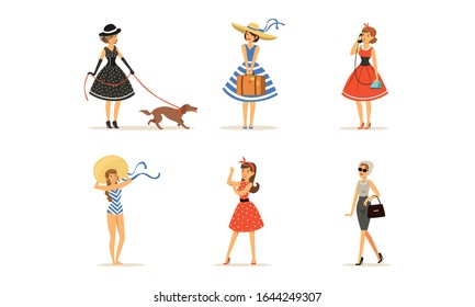 Beautiful Young Women Dressed Retro Style Fashion Clothes Collection Vector Illustration