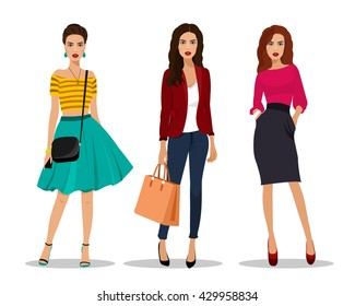 Beautiful young women in fashion clothes. Detailed female characters with accessories. Flat style vector illustration.