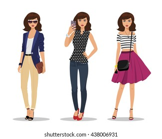Beautiful young women in fashion clothes. Detailed female characters with accessories. Businesswoman with bag, young girl making selfie and romantic style girl. Flat style vector illustration.