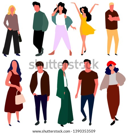 944bcfcc201a Beautiful Young Women Men Fashion Clothes Stock Vector (Royalty Free ...