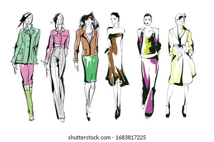 Beautiful young women in modern style.. Hand drawn stylish woman portrait. Fashion lady. Festive outfit. Sketch. Fashion model posing in dress. Hand drawn fashion woman.