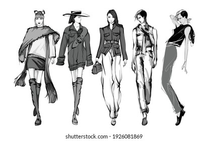 Beautiful young women in modern style.. Hand drawn stylish woman portrait. Fashion lady. Autumn outfit. Sketch set. Fashion model posing in coat. Hand drawn fashion woman.