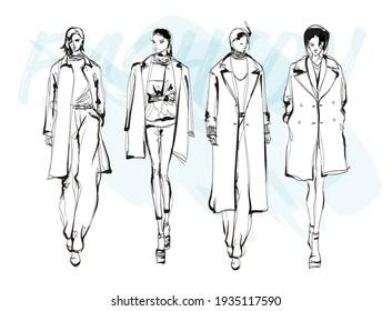 Beautiful young women in modern style.. Hand drawn stylish woman portrait. Fashion lady. Summer outfit. Sketch set. Fashion model posing in coat. Hand drawn fashion woman.