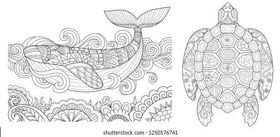 Beautiful zentangle whale and turtle for design element and coloring book,coloring page for anti stress.Vector illustration