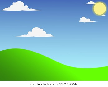 Beautifull Background Panorama. With Clouds, sun, Grass Land and Blue Sky.