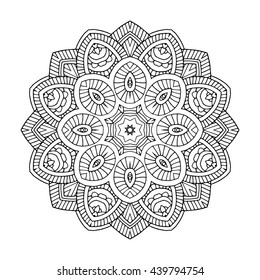 beautifull black floral orient mandala on white background, vector illustration