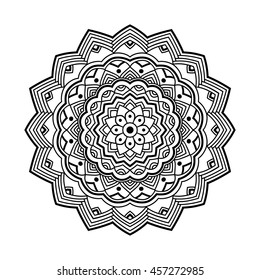 beautifull black simple floral orient mandala on white background, vector illustration