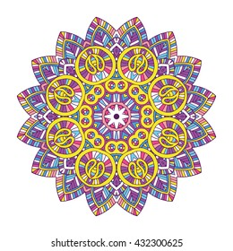 beautifull colored floral indian mandala on white background, vector illustration