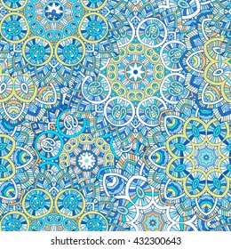 beautifull colored mandala seamless pattern, indian paisley motifs,, vector illustration