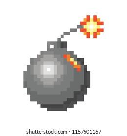 beautifull pixel bomb on white backgrownd. Simple flat original design