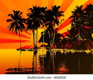 Beautifull sunset on a island