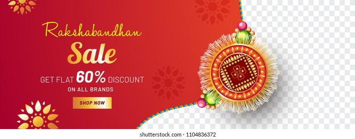 Beautifully decorated Rakhi, Indian brother and sister festival Raksha Bandhan concept. Sale promotion banner design.
