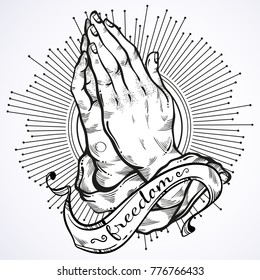 Beautifully detailed human hands folded in prayer. Appeal to the God. Faith and hope. Religious motifs. Academic art. Vector illustration isolated on white. Best print, poster and tattoo element.