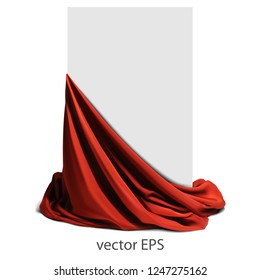 Beautifully draped red silk on a white background.  Place for your text. Highly realistic illustration.