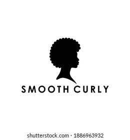 beauty afro american black young women curly or frizzy smooth hair outline silhouette logo design vector illustration in the circle shape