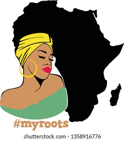 Beauty Afro Woman with words