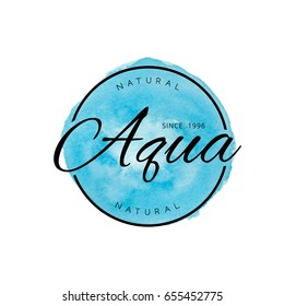 Beauty Aqua Watercolor Tag Logo. Vector Isolated.