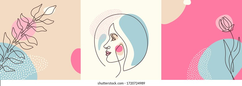 Beauty backgrounds set in minimal line style with woman face profile, flower, plant, circle design elements, dots texture. Linear female portrait. Vector illustration.
