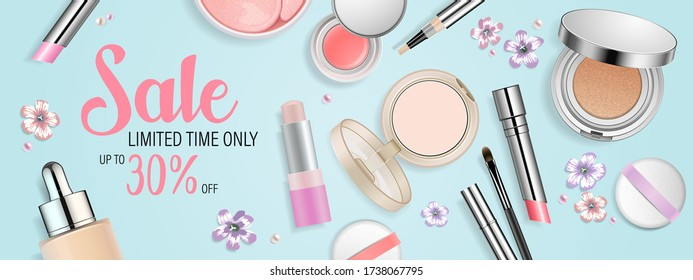 Beauty banner template. Cosmetic products and flowers in pastel colors isolated on turquoise background. Sale promotion vector poster for make up online store. Special offer text block.
