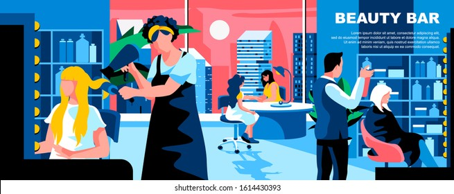 Beauty bar flat vector landing page template. Hairdresser salon, manicurist service banner layout with header. Women hair stylist modern parlour cartoon illustration with text space