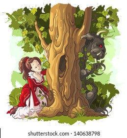 Beauty and the Beast. Fairy Tale of Charles Perrault. Vector cartoon child illustration. Also available raster version
