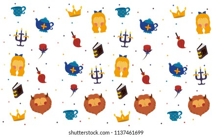 beauty and the beast pattern vector