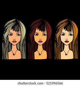 beauty, beautiful, hair, vector, girl, portrait, young