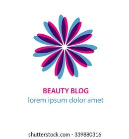 Beauty blog web site woman pink purple blue flower logo