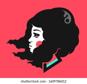Beauty brunette girl profile portrait with the hair blown by wind. Vector illustration, graphics for a t-shirt.