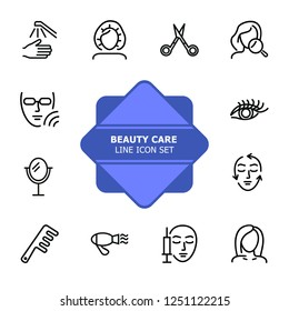 Beauty care line icon set. Hair dryer, solarium, barber scissors. Beautician concept. Can be used for topics like beauty salon, cosmetology, aesthetic dermatology