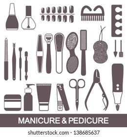 Beauty And Care Manicure Pedicure Tools Products Vector Silhouette Icons Set
