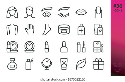 Beauty care products and decorative cosmetics for makeup isolated icons set
