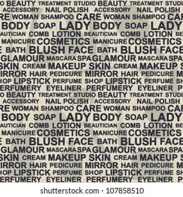 Beauty and care seamless background with words 2