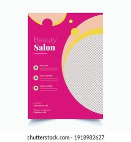 Beauty Care Spa Hair Salon Flyer Editable A4 Size Brochure Template Cover Design
