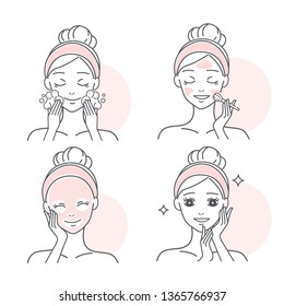 beauty cartoon skin care woman on the white background